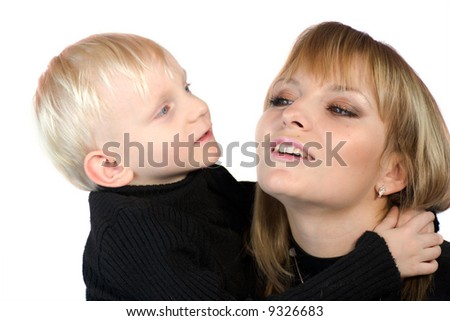 Mother and son having fun together isolated on white - stock photo