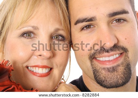 mother and son headshot - stock photo