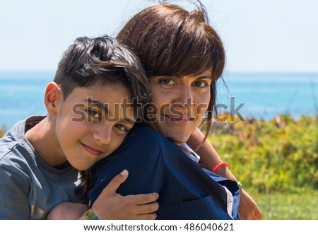 Mother and son in a park