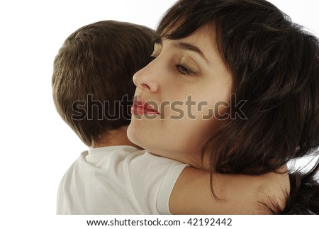 Mother and son in white t-shirt tightly hugging, isolated on white - stock photo