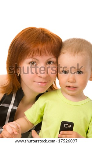 mother and son isolated on a white background