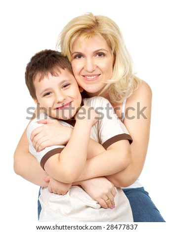 Mother and son. Isolated over white background - stock photo