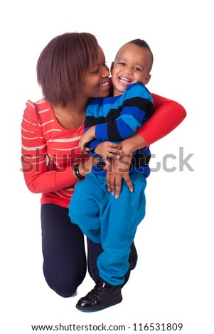 Mother and son laughing african black - stock photo