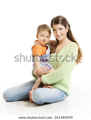 Mother and Son Little Kid Family Portrait, Young Woman with Small Child on Hands, Isolated over White Background, Looking at Camera - stock photo