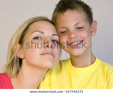 Mother and son looking happy  - stock photo
