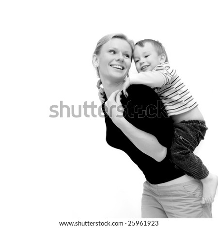 mother and son over white - stock photo