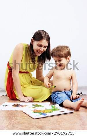 Mother and son painting, Creative children, Creative studio, Children drawing, Happy child, Kids drawing or Creative thinking, Children care, Art therapy, Painting background - stock photo