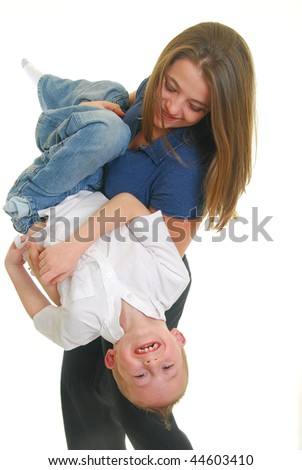 mother and son playing isolated on white. - stock photo