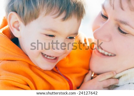 mother and son portrait - stock photo