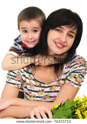 Mother and son portrait with flowers isolated on white - stock photo