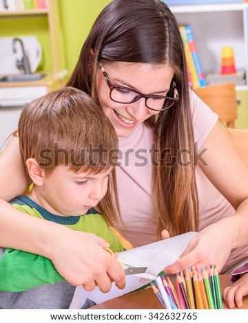 Mother and Son Quality Time - stock photo