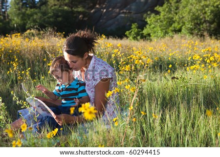 Mother and son reading a book together in late afternoon sun - stock photo