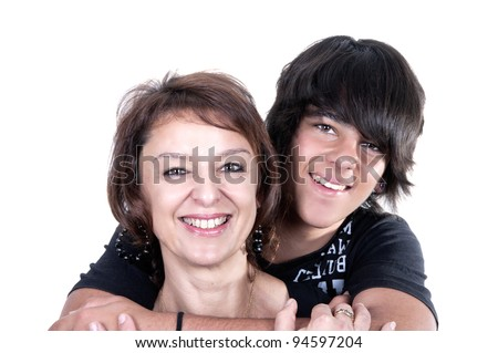 mother and son showing affection over a white background - stock photo