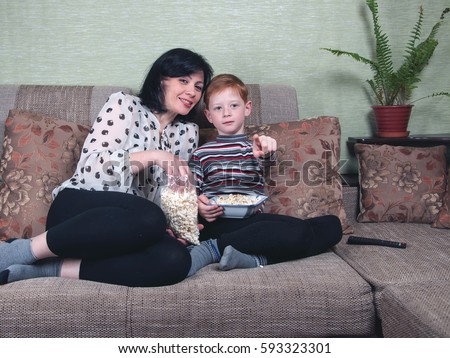 Mom and son watching porno