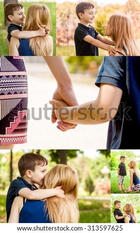 Mother and son together outdoors ponder the thought of the child and his desire. Collage. - stock photo