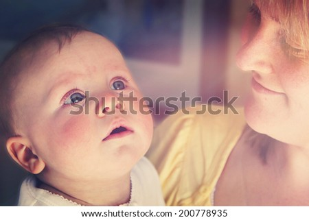 Mother and son together with instagram effect - stock photo