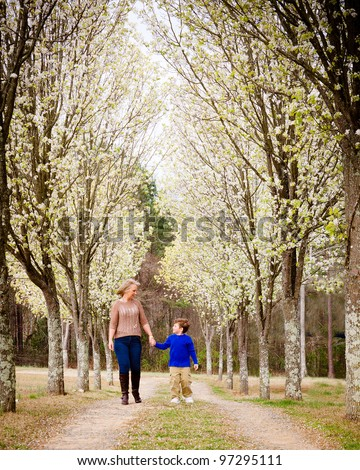 Mother and son walking hand in hand  at park during spring - stock photo