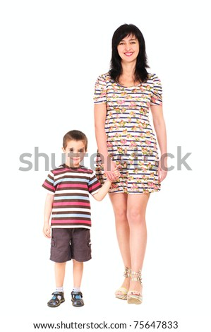 Mother and son walking in summer clothes isolated on white - stock photo