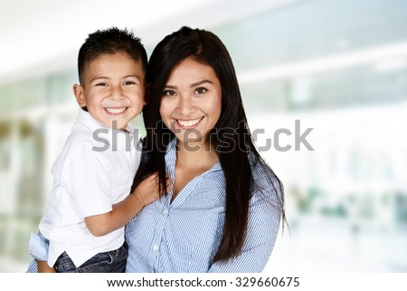 Mother and son who are playing together
