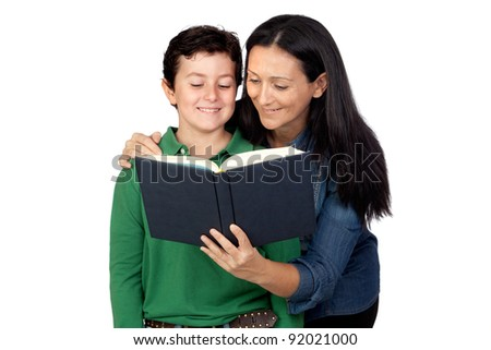 Mother and son with a book isolated on white background - stock photo
