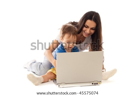 Mother and son with notebook together isolated on white - stock photo