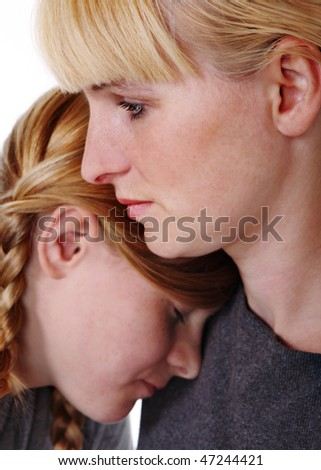Mother and teenage daughter - stock photo