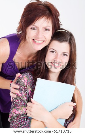 mother and teenager daughter - stock photo