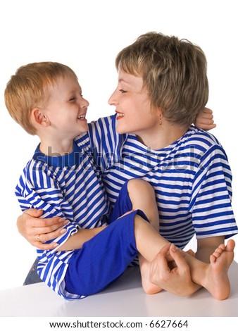 Mother and the son embrace - stock photo