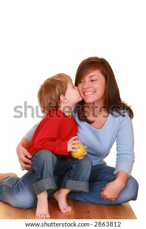 mother and three years boy isolated on white