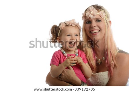 Mother and toddler portrait smiling with copy-space for text - stock photo