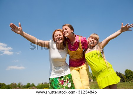 Mother and two daughter fun