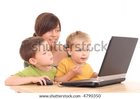 mother and two sons having fun with computer game isolated on white