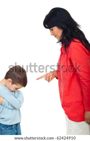 Mother argue her naughty son and he feels guilty andlet the head down isolated on white background - stock photo