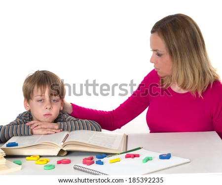 mother calms her son - stock photo
