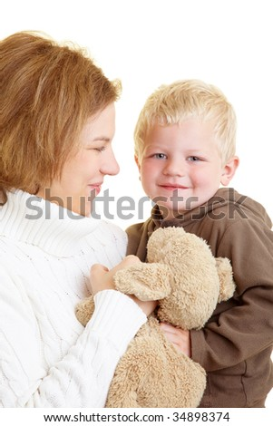 Mother carrying her young son - stock photo