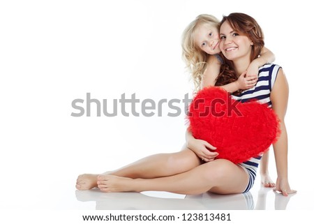 mother child heart - stock photo
