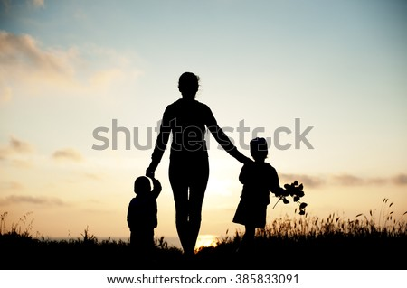 mother  children  family sea  sunset  flowers  spring    silhouette  beautiful women - stock photo