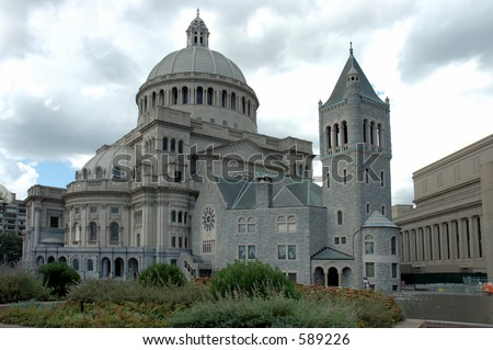 Mother Church,Christian Science on a cloudy sky, Boston, Massachusetts