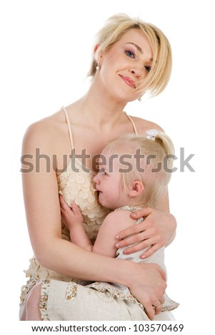 Mother comforting her crying little girl - parenthood concept.  isolated on white background - stock photo