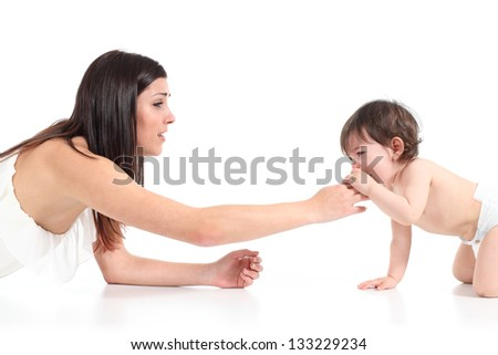 Mother consoling her baby crying isolated on a white background