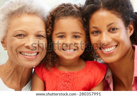 Mother,daughter and granddaughter - stock photo