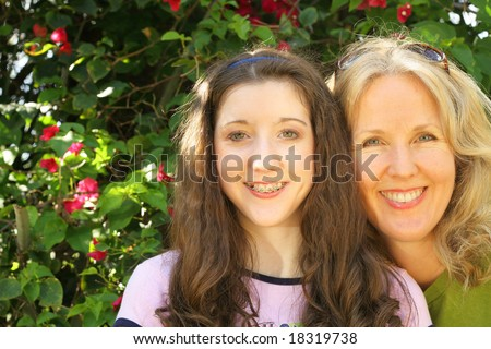 mother daughter headshot - stock photo