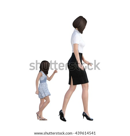 Mother Daughter Interaction of Girl Following Mom as an Illustration Concept 3d Illustration Render