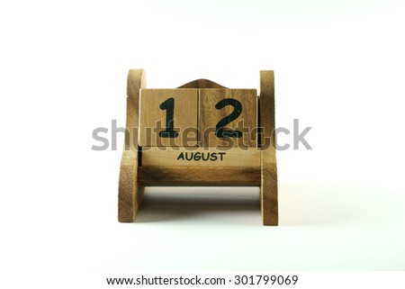 mother day on wood calendar , isolate on white background