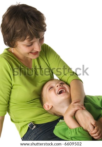 Mother embraces the son - stock photo