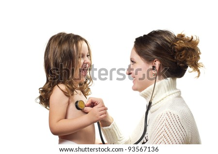Mother examining little daughter with stethoscope. Isolated on white background. - stock photo