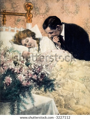 Mother, father and newborn baby - a 1909 vintage illustration - stock photo