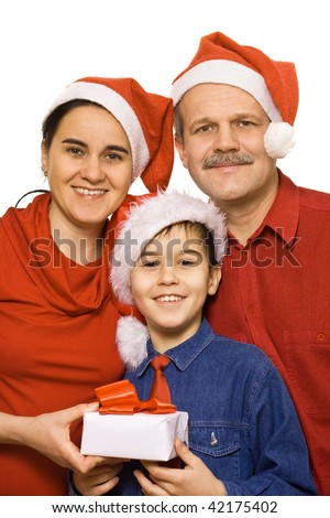 Mother, father and son at Christmas time - isolated