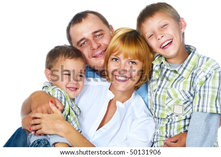 mother; father and two sons over white - stock photo
