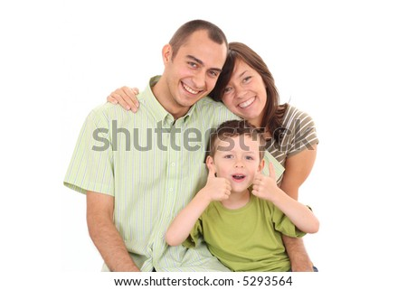 mother father and 5-6 years old boy isolated on white - stock photo